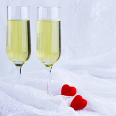 two glasses of sparkling white wine