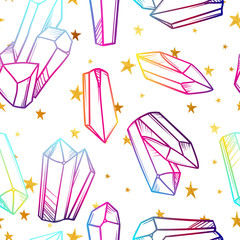 Vector seamless pattern with magic crystals and golden stars. Fantasy print of mineral stones.