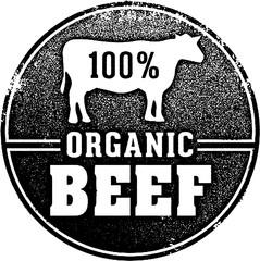 Vintage Organic Beef Butcher Stamp