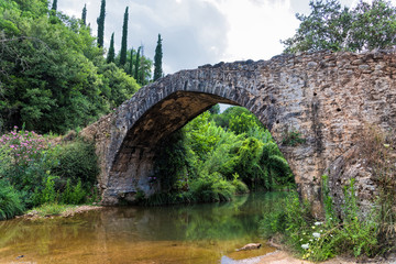 Old stone bridge in Peloponnese, Greece
