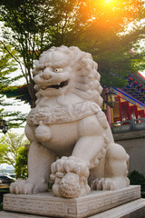 Chinese lion stone in front of Chinese temple.