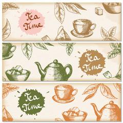 Banner set of vintage handdrawn tea backgrounds. Menu for restaurant, cafe, bar, coffeehouse. Vector illustration.