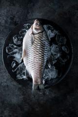 Raw Silver Barb Fish on Ice