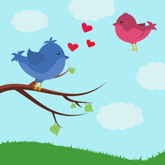 Card with cute birds. Bird on a branch. Valentine's day
