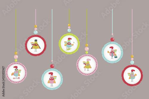 Set Of Cute Cartoon Rooster Character Illustration Calendar