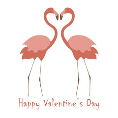 Valentines day banner with cute flamingos make heart. Vector illustration eps 10.