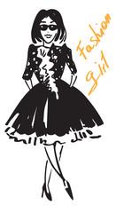 fashionable girl in black