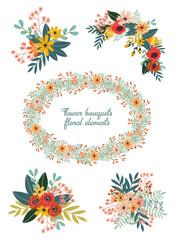 Cute hand drawn doodles floral bouquets