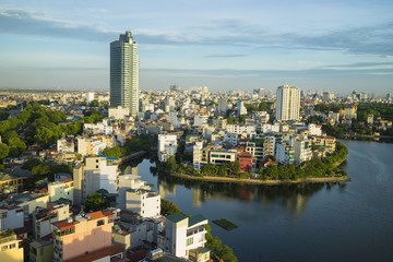 Hanoi skyline cityscape at sunset period. West Lake aerial view