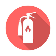 Fire extinguisher circle icon with long shadow. Flat design style. Extinguisher simple silhouette. Modern, minimalist, round icon in stylish colors. Web site page and mobile app design vector element.