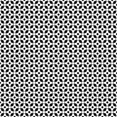 Vector monochrome seamless pattern, black & white repeat ornament texture, endless backdrop. Abstract mosaic background with simply geometric figures, flowers, cubes, circles. Modern design element