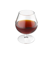 Glass of cognac isolated. 3d