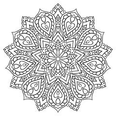 Circular geometric ornament. Round outline Mandala for