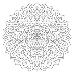 Circular geometric ornament. Round outline Mandala for coloring page
