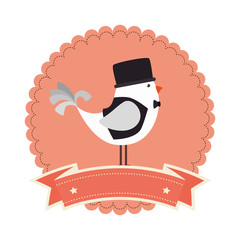 birds romantic card icon vector illustration design