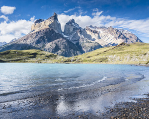 Poster Reflexion View of the los Cuernos, reflected in the lake in Torres del Paine National Park, Patagonia, Chile