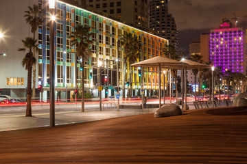 Colorful Cityscape - Building Lights at Night - Promenade - Tel Aviv, Israel