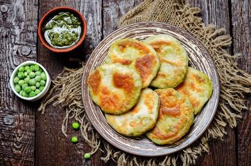 Spicy green peas Flatbread. Bengali Matar Kachori. Indian cuisin