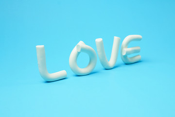 alphabet from white Plasticine, Selective Focus