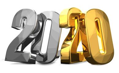2020 silver golden 3D render
