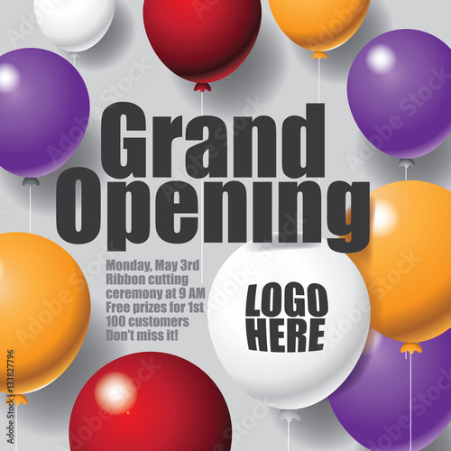 colorful balloons marketing background template grand opening or
