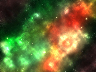 Galaxy outer space nebula shining stars and gas clouds illustration art design