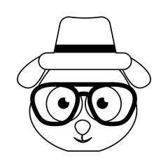 cute dog character hipster style vector illustration design