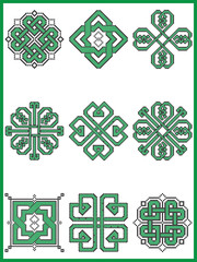 Celtic endless decorative knots selection in black and green cross stitch pattern  inspired by Irish St Patrick's day and ancient Scottish culture