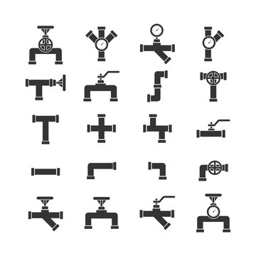 Pipe set icon vector.