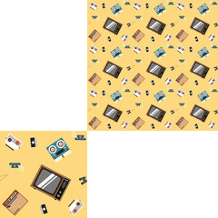 Seamless pattern of household appliances on a yellow background with pattern unit.