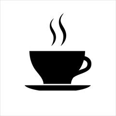 Cup of coffee or tea icon. Hot beverage mug on saucer and smoke. Vector Illustration