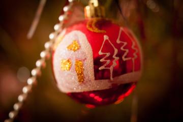 Christmas ornaments on the christmas tree. vintage, blur.