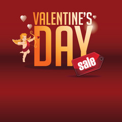 Valentines Day Sale background marketing template with golden type and cute cupid. EPS 10 vector.