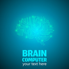 Human Brain Logo in form of Electronic brain computer,Neurology Conception.Silicon chips in form of Cerebrum and Cerebellum with mind thoughts shines,text Brain Computer on blue luminous background