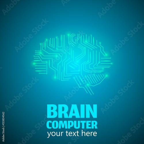 Human Brain Logo in form of Electronic brain computer,Neurology ...