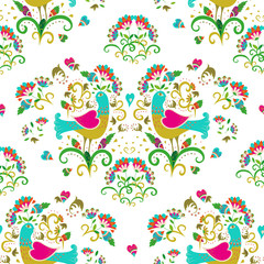 Ethnic colorful and ornate birds and flowers pattern. Seamless pattern on white background for embroidery and textile.
