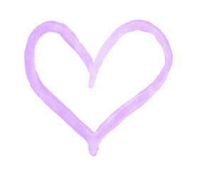 The outline of the light pale lilac heart drawn with paint on white background