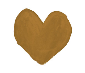 Sepia heart painted with gouache