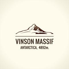Mountain tourist vector logo. Emblem Mount adventures outdoors. Icon of the world highest mountains