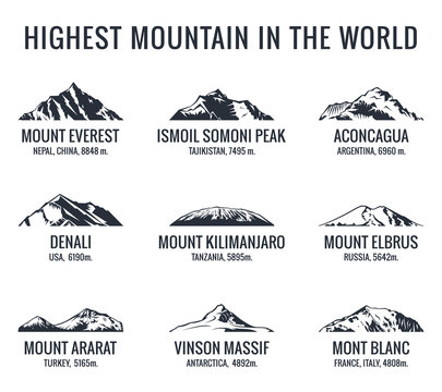 Mountain tourist vector logos set. Posters adventures outdoors. Icons of the world highest mountains