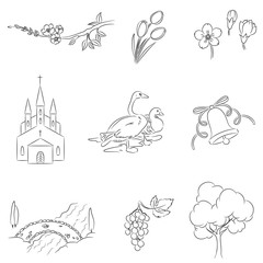 Village icons set. Hand drawn isolated over white.