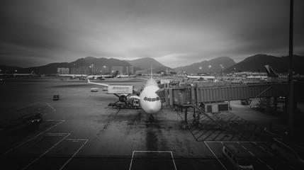 Airplane waiting on board in Hong Kong International airport at Nov 24, 2016