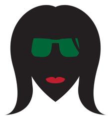 Cool Woman Red Lips Green Glasses Silhouette