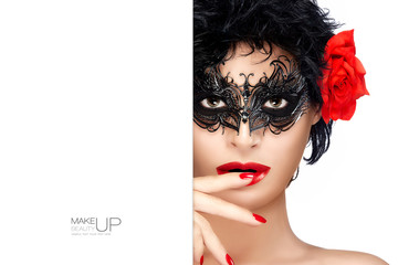 Beauty Fashion Model with Carnival High Contrast Makeup