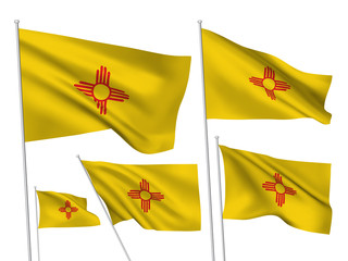 USA New Mexico vector flags. A set of 5 wavy 3D flags created using gradient meshes. EPS 8 vector