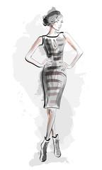 Sketch girl in fashion dress. Vector illustration.