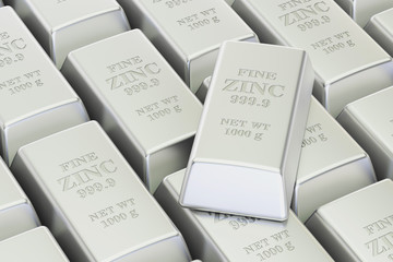 Zinc bars background, 3D rendering