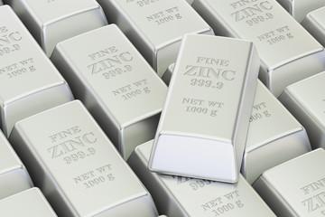 Zinc bars background, 3D rendering