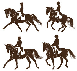 Set of dressage horses with rider