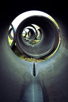 Inside sewer pipes above ground